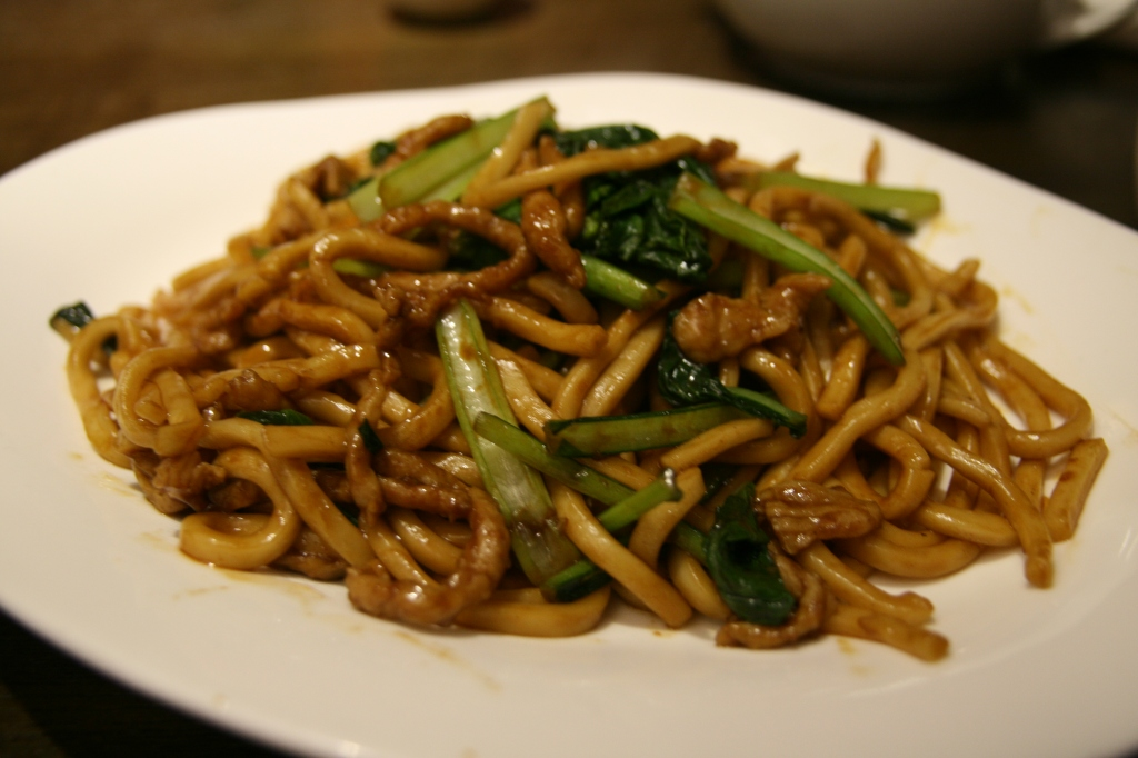 New Shanghai, Ashfield: Stir fried la mian with pork and vegetables